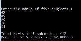 Program in c to calculate sum of 5 subjects and find percentage with