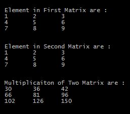 c program to multiply two matrices