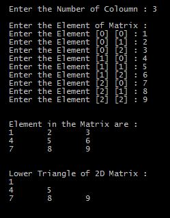 Program in C to Print Lower Triangle of 2D Matrix with output