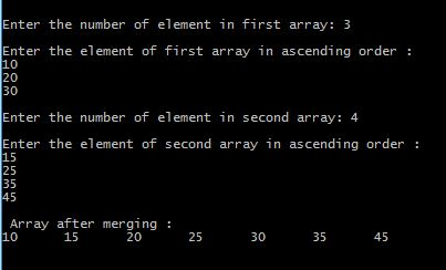 Program in C to merge two sorted array in ascending order